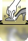 Mit einem Tuch nachpolieren (Damenschuh) - ES