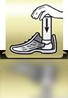 Spray in Schuh halten und runter drücken - EN