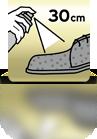 Aus ca. 30 cm einsprühen (Wildleder) - ES